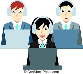 Call center agents team at office. Customer care operators, guys and girls with smiling faces sitting at desks with computers. Online support service assistants with headphones.