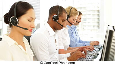 Call center agents working