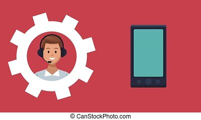 Call center and customer service HD animation - Call center...