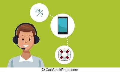 Call center and customer service HD animation
