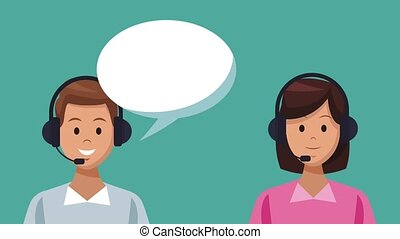 Call center and customer service HD animation - Call centers...