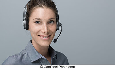 Call center and customer support operator - Smiling...
