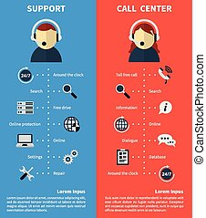 Call center and support banners. Consultation and free call...