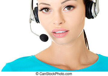Call center assistant smiling