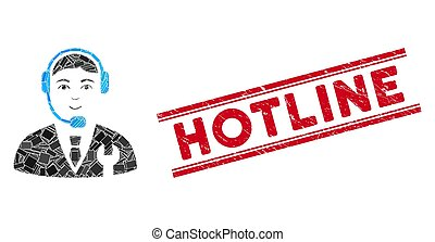 Call Center Boss Mosaic and Grunge Hotline Watermark with Lines