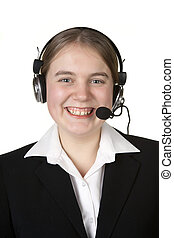 call center business girl with headset