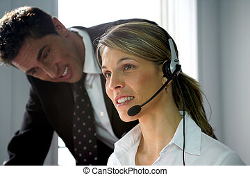 Call-center colleague being supervised