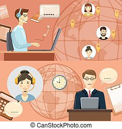 Call center communication concept, cartoon style