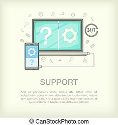 Call center concept connect, cartoon style