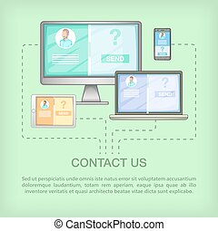 Call center concept devices, cartoon style