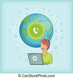 Call center concept global, cartoon style