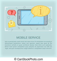 Call center concept mobile, cartoon style