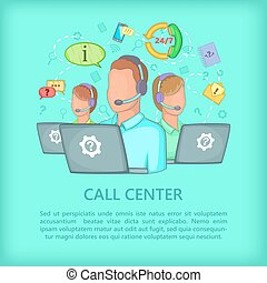 Call center concept team, cartoon style