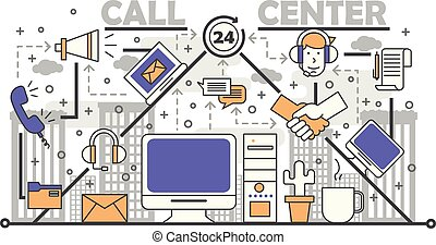 Call center concept vector illustration in flat linear style