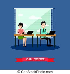 Call center concept vector illustration in flat style