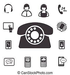 Call center customer service icon set