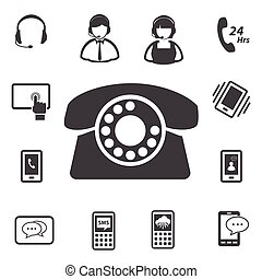 Call center customer service icon set