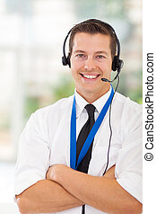 call center customer service worker with arms crossed