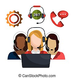 call center design - call center design, vector illustration...