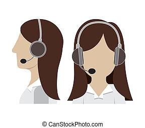 Call center design over white background, vector...
