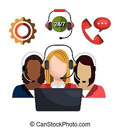 call center design - call center design, vector illustration...