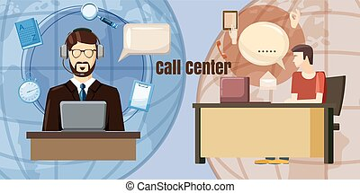 Call center dialog concept, cartoon style