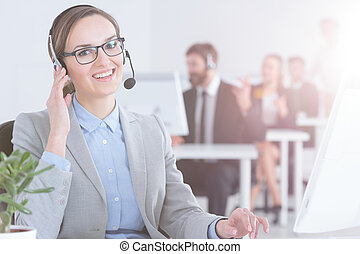 Call center employee in office