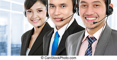 call center employee - worker call center smiling with...