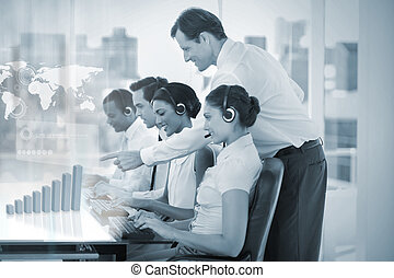 Call center employees at work on futuristic holograms...