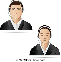 Call Center Executive - illustration of male and female...