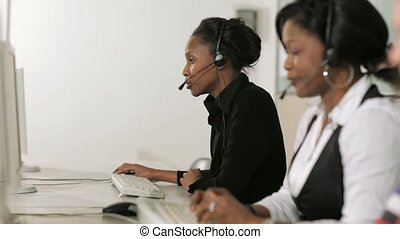 Call Center, Female Receptionists - Multiethnic women...
