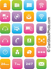 call center flat style icon set - suitable for user ...