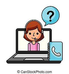 call center girl laptop address book support