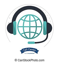 call center globe connection headphones
