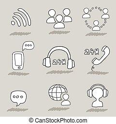 Call center hand drawn icons