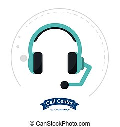 call center headset communication client vector illustration...