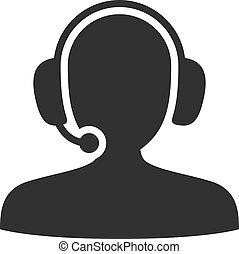 Call center icon black and white color.