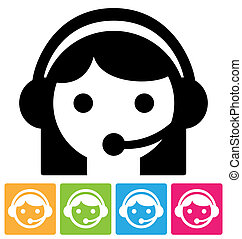 call center icon - Call center assistant in headset, ...