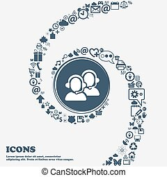 Call center icon in the center. Around the many beautiful symbols twisted in a spiral. You can use each separately for your design. Vector