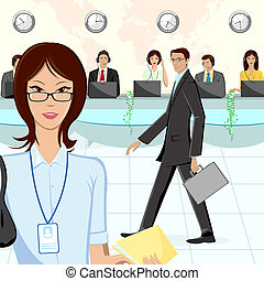 Call Center - illustration of call center executive in ...