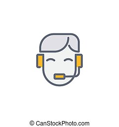 Call center lcon. Symbol, line, color, outline style pictogram on beige background. Boxing gloves sign for mobile concept and web design. Vector graphics