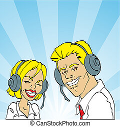 call center, live help - friendly male and female customer...
