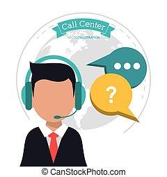 call center man business bubble speech