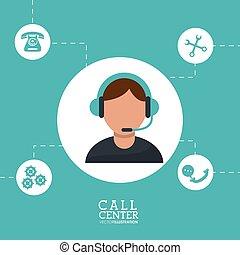 call center man operator wearing headphone support