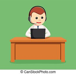 call center man with laptop