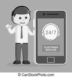 Call center man with smartphone