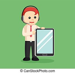 call center man with tablet