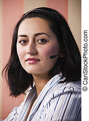 Call center mid adult woman
