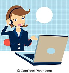 call center operator at work - Cartoon vector illustration...
