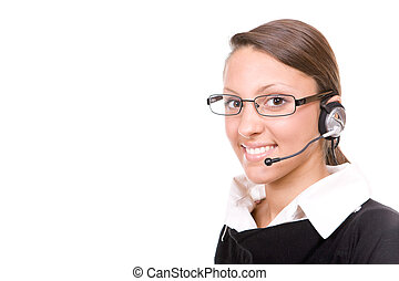 call center operator - attractive young brunette woman wiyh...